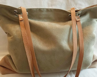 Moss Green, Tan Micro Suede Carryall Bag, Leather Straps