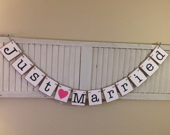Just Married Sign Wedding Banner Bunting Garland Black and White Choose Heart Color