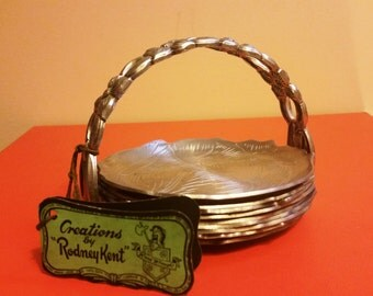 Vintage Hand Wrought RODNEY KENT Aluminum 9 PC Coaster Set Holder/Cabbage and Dogwood Design