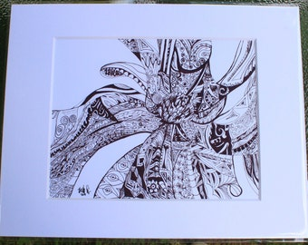 Blossom Zentangle print