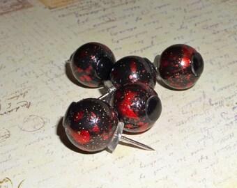 Big hole bead Push Pins, Thumb Tacks, party favors - red and black