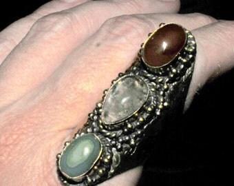 carnelian ,imperial jasper,and rutilated quartz saddle ring/massive ring/statement ring