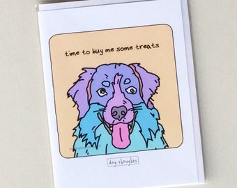 Australian Shepherd Dog Notecard - Buy Dog Treats - NC-1DG - Great Dog Lover Gift - Collect All