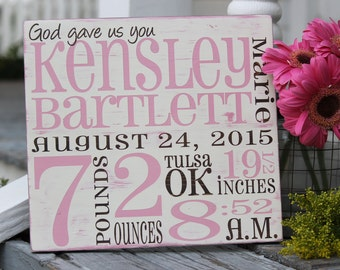 """Custom Birth Announcement wall art, Birth Stats sign, Custom baby gift,  Hand painted wood sign, New baby gift, Measures 11"""" x 12"""""""