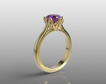 14k yellow gold engagement ring, 7mm round Amethyst ring, wedding ring, promise ring, anniversary ring, special orders, R-104