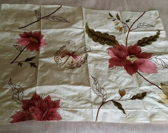 JAMES HARE Embroidered Pure Silk Fabric Sample Panel 26.5in x 21in Floral Butterfly on Ivory/Pale Cream ~ Ideal For Cushion Craft