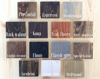 Stain Samples - Example Finishes - Samples - Swatches - Home Decor - Choose Your Color