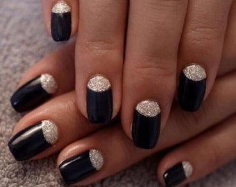 Black glitter moon press on nails, artificial nails, stiletto nails, coffin nails, hand painted, nails