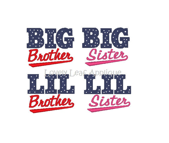 digital item  big  little sibling baseball applique design 3 sizes from lovelyleafapplique on