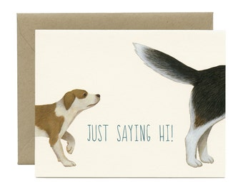 "Dog Sniffing Dog Hello Card - ""Just Saying Hi!"" - ID: HEL021"