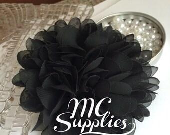 Black chiffon flower applique,chic flower applique,headband flower,hair clip flower,wedding flower,baby headbands flower,bouquets flower,141