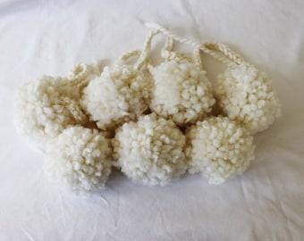 Off - White Pom Pom Garland, Cream PomPom Banner, Snowball Garland