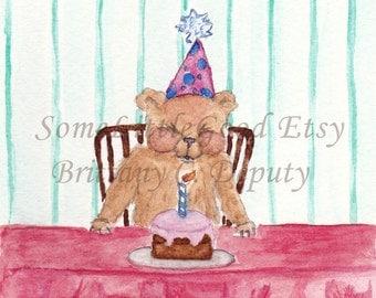 Birthday Card, Small Bear Makes a Wish Birthday Card, Watercolor Bear Birthday Card, Blank Birthday Note Card