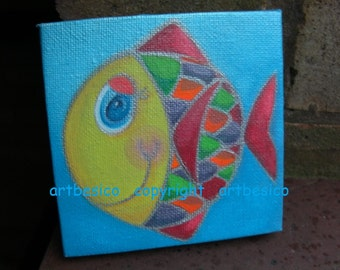 Box canvas painting - Smiling Fishie - 4 x 4 inhes