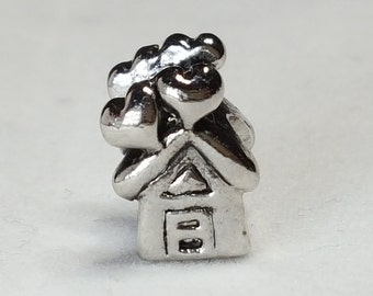 House Charm/Spacer -Home is Love - Where the heart is-silver heart Charm  Fits all Designer and European Charm Bracelets*