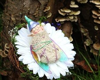 Sleeping Baby Fairy Nest, Fairy Sculpture