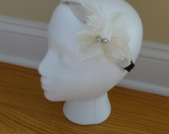 Classy Ivory Headband With Lace Organza Flower