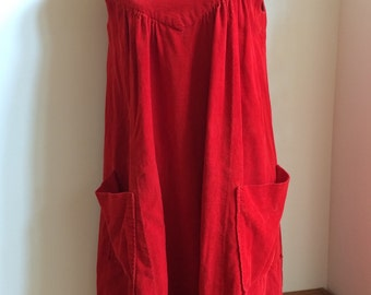 1960's ruby red corduroy dress