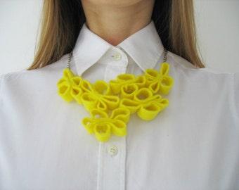 yellow felt necklace