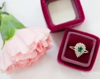 Ring Box in Burgundy Vintage Style, Handmade ST