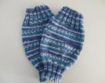 Hand Knitted Baby Leg Warmers, Baby Legs, Ankle Warmers 6-12 Months Fair Isle Effect Blue  Baby Wearing Elimination Communication