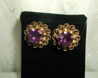 Antique Victorian Purple Stone Amethyst Earrings, Ornate Gold filigree Purple Stone Earrings Screw Backs
