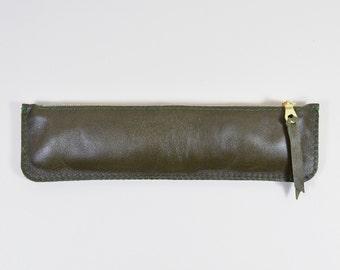 Handmade LeadorDead Olive Green Leather Pencil Case