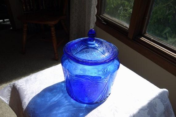 Hazel Atlas Royal Lace Cobalt Blue Cookie Jar