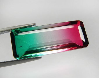 25x10 mm. Big Octagon Cut Watermelon Tourmaline Quartz Multi-Color Tourmaline