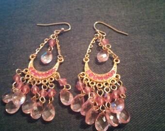 Pink Stone Chandelier Dangle Earrings Gold Tone Tribal Gypsy Style