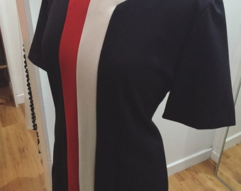 Plus Size 1960s Tina Barrie Petites Black White & Red Shift Dress