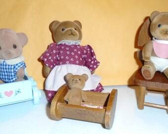 Vintage Applause Sylvanian Family Doll Set Teddy Bear Story Mom & 3 Babies