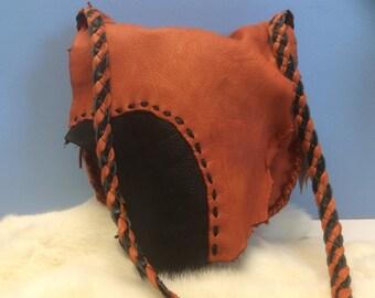 Leather Purse, Original Deer Hide  Shoulder Bag, Black and Rust Deerskin Popular Purse, Soft Leather Purse with Pocket, Made in Canada