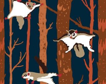 Flying Squirrel Fabric, Ramble & Roost Y1739-93 Clothworks Organic Cotton, Blue Squirrel Quilt Fabric, Woodland Fabric, Sugar Glider Fabric