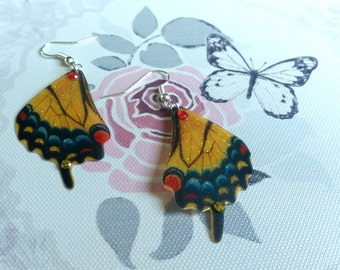 Vibrant Yellow, Red & Blue Butterfly wing Earrings
