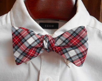Bow Tie - Red, Black and White Tartan - Men's self tie
