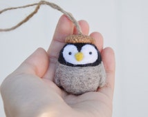 needle felt penguin ornament, penguin nursery decoration, needle felted animal ornament, amigurumi penguin, penguin figurine