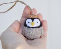 penguin ornament, needle felted penguin, animal ornament, needle felted animal, amigurumi penguin