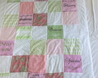 Custom Wedding Quilt. Wedding Gift for Newlywed Unique Gift Ideas. Customized Pattern Photo Quilt.personal messages. anniversery gift.