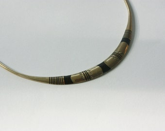 40% SALE Brass&Ebony Collar Necklace - Geometric Tribal Style. Ethically Handmade in West Africa. Free world ship.