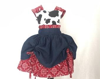 Cowgirl Cowprint, bandana, and denim Larkin Style Dress | Farm Girl Dress | Denim and Bandana | CPSC Compliant | Handmade