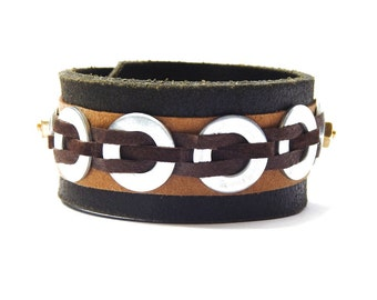 Recycled Leather Cuff Mens Accessories Hardware Black Leather Mad Max Bracelet Wasteland Warrior Halloween Costume Cosplay
