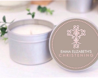 Personalised Baptism / Christening favours / bomboniere. Soy candle tins by Mahina