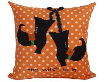 Halloween pillow cover, 16x16, Halloween pillows, Witch pillow, Halloween decor, Decorative pillow, Orange throw pillow, Ready to ship