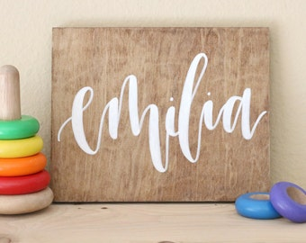 hand lettered calligraphy wood sign // baby name