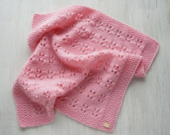 Blanket for American Girl and Waldorf dolls Knitted Doll Blanket, Pink blanket