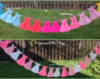 20 Origami Dress- Paper Dress garland- Girls Birthday Party, Origami - Dress Party - Banner party