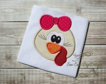 Adorable Thanksgiving Girl Turkey Applique Design