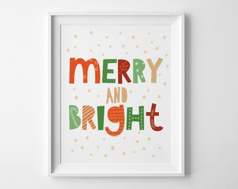 Merry and Bright, Christmas printable art, Christmas print, holiday print, xmas decoration, printable wall art, holiday printable, xmas art