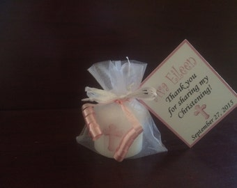 24 Christening Favors, Wedding Favor, Candle Favor, Bridal Shower Favor, Baptism Favor, Baby Shower Favors, Pink Cross Favors, Birthday